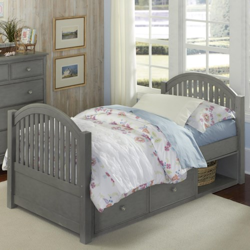 NE Kids Lake House Twin Bed with Arched Headboard and Footboard and Underneath Storage