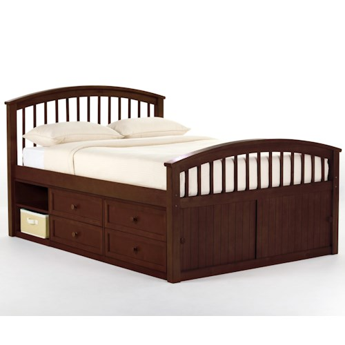 NE Kids School House Full Captain's Bed with Storage