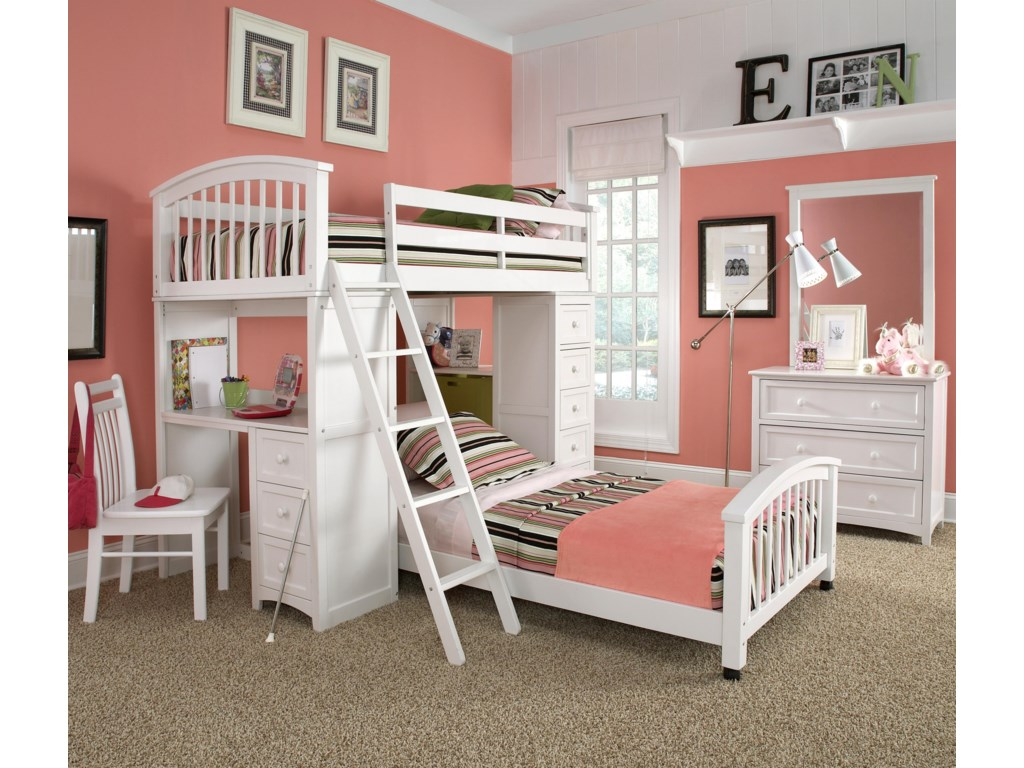 Shown in Room Setting with Loft Bed, Lower Bed, Chest and Mirror