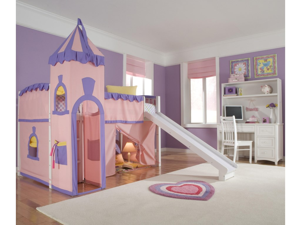 Shown in Room Setting with Junior Loft Bed, Desk, Hutch and Castle Tent