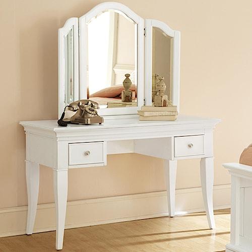 NE Kids Walnut Street Desk with Vanity Storage Mirror