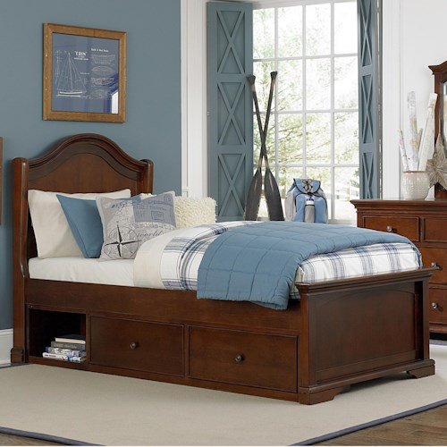 NE Kids Walnut Street Twin Morgan Panel Bed with Arch Headboard and Underbed Storage Unit