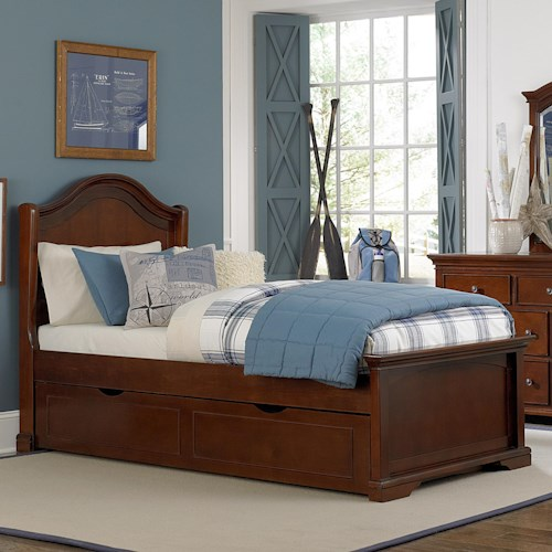 NE Kids Walnut Street Twin Morgan Bed with Arch Headboard and Underbed Trundle Unit