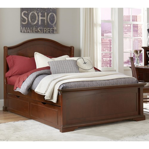 NE Kids Walnut Street Full Morgan Bed with Trundle and Arched Headboard