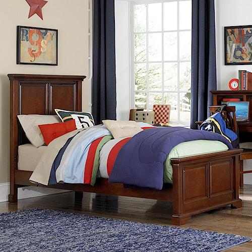 NE Kids Walnut Street Twin Devon Panel Bed with Two Position Rails