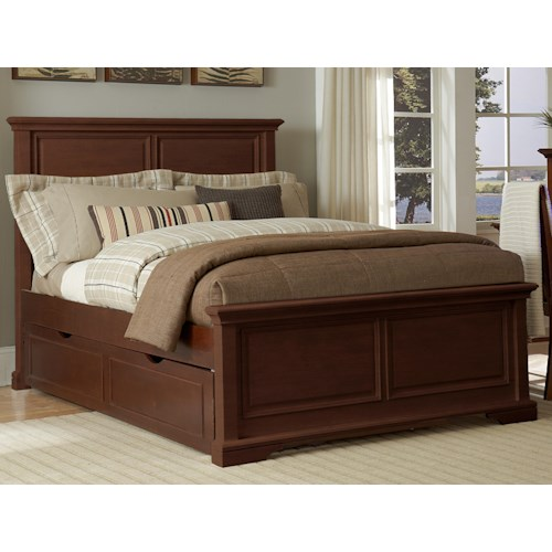 NE Kids Walnut Street Full Devon Panel Bed with Tundle