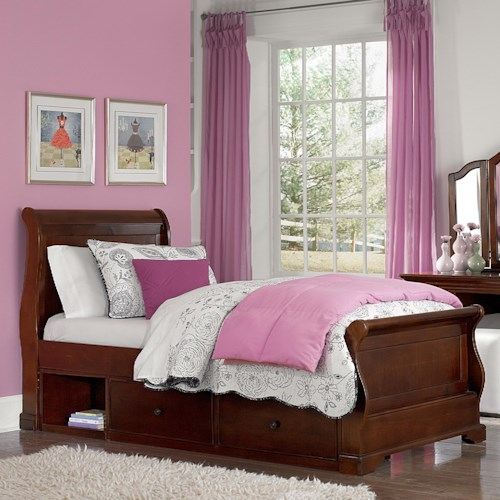 NE Kids Walnut Street Twin Riley Bed with Underbed Storage Unit