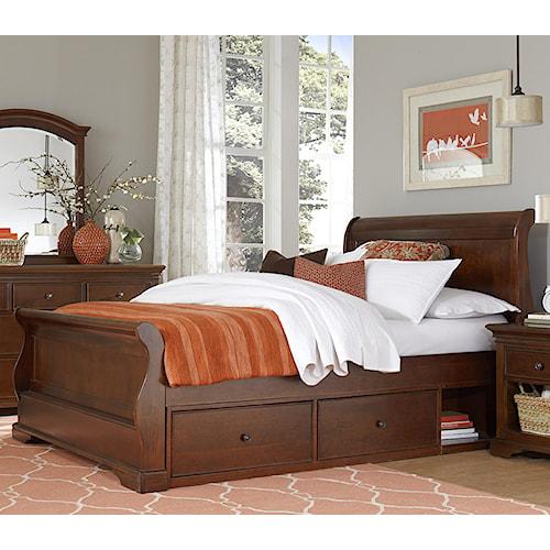 NE Kids Walnut Street Full Riley Sleigh Bed with Underbed Storage