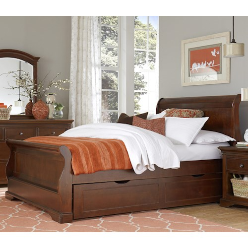 NE Kids Walnut Street Full Riley Sleigh Bed with Trundle