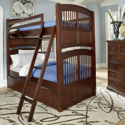 NE Kids Walnut Street Twin Over Twin Hayden Bunk Bed with Trundle