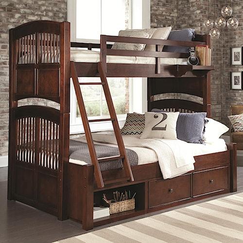 NE Kids Walnut Street Twin Over Full Bunk Bed with Underbed Storage Unit