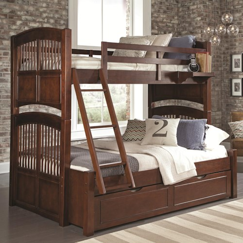 NE Kids Walnut Street Twin Over Full Bunk Bed with Trundle