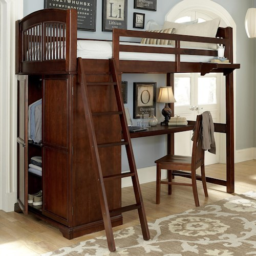 NE Kids Walnut Street Locker Loft with Built-in Desk