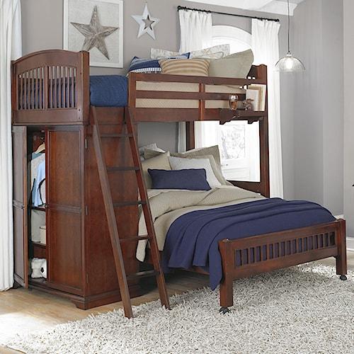 NE Kids Walnut Street Locker Loft with Full Lower Bed