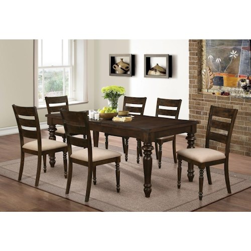 New Classic Annandale 7 Piece Dining Set with Upholstered Side Chairs