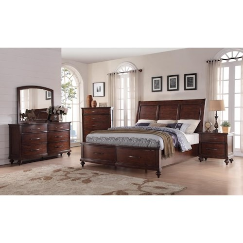 New Classic La Jolla King Storage Bed, Dresser, Mirror & Nightstand