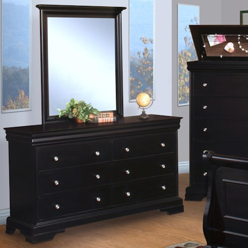 New Classic Belle Rose Youth Dresser w/ Vertical Mirror