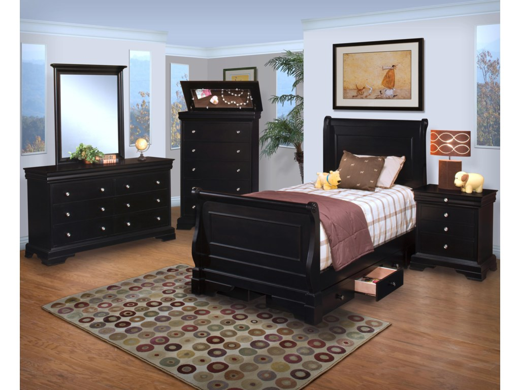 Shown in Room Setting with Dresser and Bed