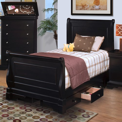 New Classic Belle Rose Youth Full Sleigh Bed w/ Underbed Storage