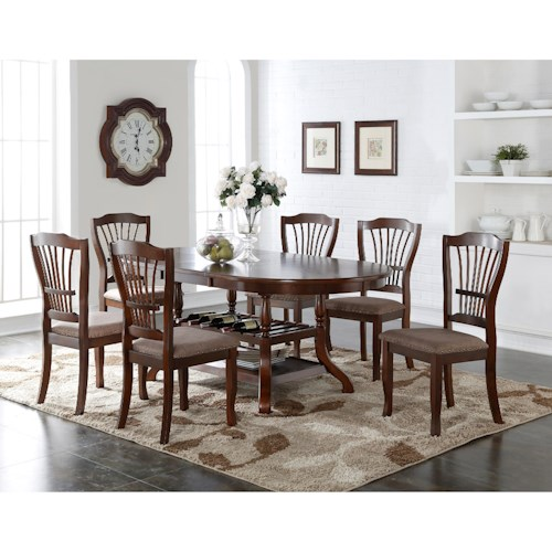 New Classic Bixby 7 Piece Dining Table Set with Wine Bottle Storage