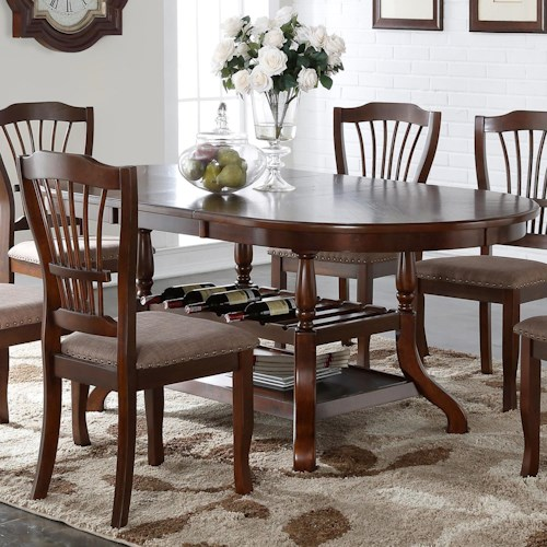 New Classic Bixby Rounded Dining Table with Wine Bottle Storage