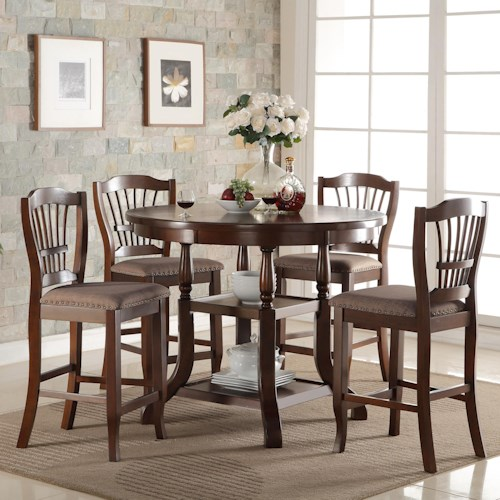 New Classic Bixby 5 Piece Round Counter Table Set with Storage Shelves