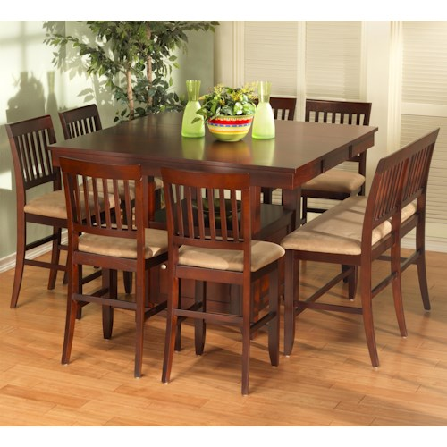 New Classic Brendan 8 Piece Storage Pub Table, Bench, and Counter Chair Set