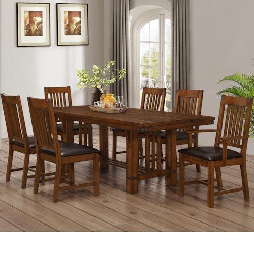 New Classic Buchanan Dining Table with Trestle Base and Chair Set with 6 Chairs