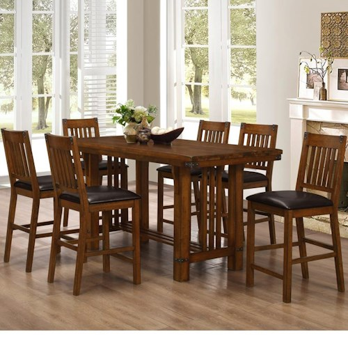 New Classic Buchanan Counter Table with Trestle Base and Chair Set with 6 Chairs