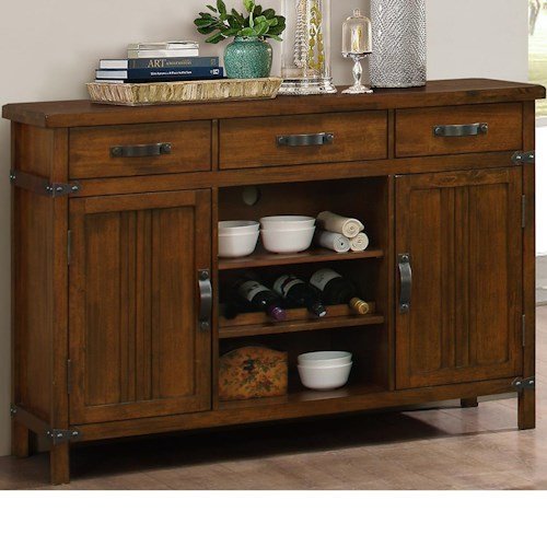 New Classic Buchanan Server with 3 Drawers, 2 Doors, and 2 Shelves, and a Wine Rack