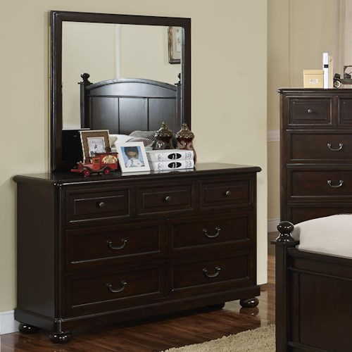 New Classic Canyon Ridge Transitional 7 Drawer Dresser and Framed Mirror
