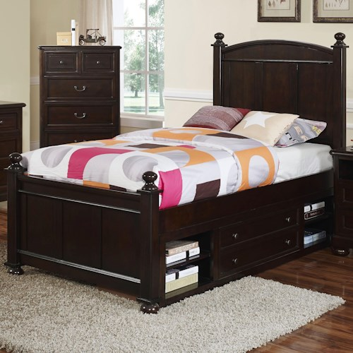 New Classic Canyon Ridge Transitional Full Panel Bed with Storage
