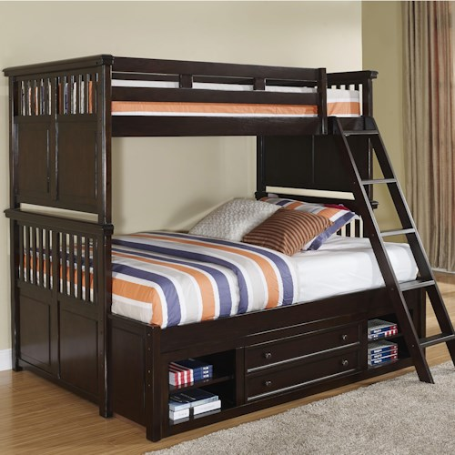 New Classic Canyon Ridge Transitional Twin/Full Bunk Bed with Storage