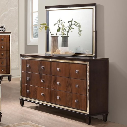 New Classic Claire Six Drawer Dresser with Mirrored Accents and Lighted Mirror