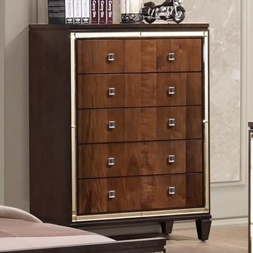 New Classic Claire Five Drawer Chest with Square Glass Knobs