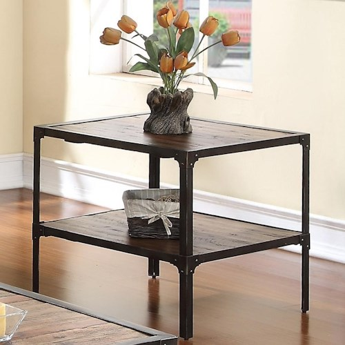 New Classic Colchester End Table with Plank-Style Top and Rustic Finish
