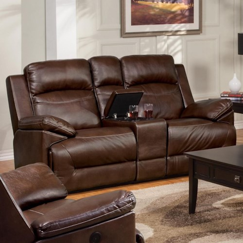 New Classic Cortez Casual Glider Loveseat with Console and Cup Holders