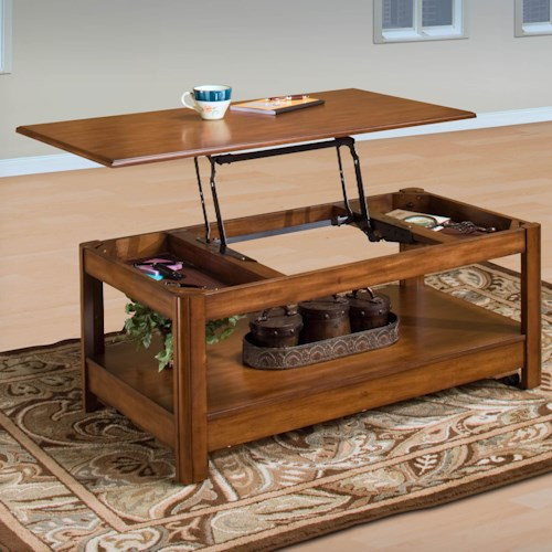 New Classic Crestline Lift Top Cocktail Table with Hidden Drawer