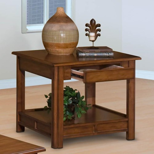 New Classic Crestline End Table with Hidden Drawer