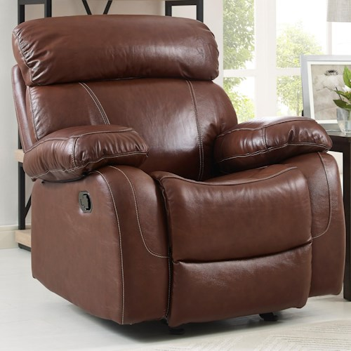 New Classic Dante Casual Glider Recliner with Pillow Arms