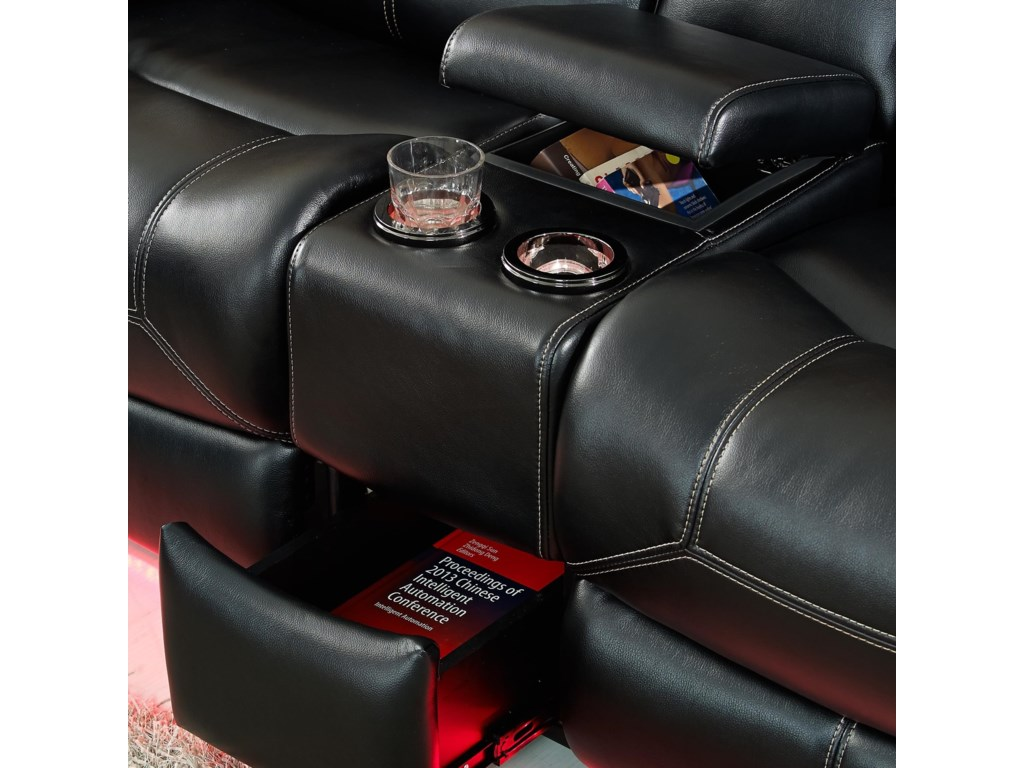 Storage Areas and Lighted Cupholders Shown