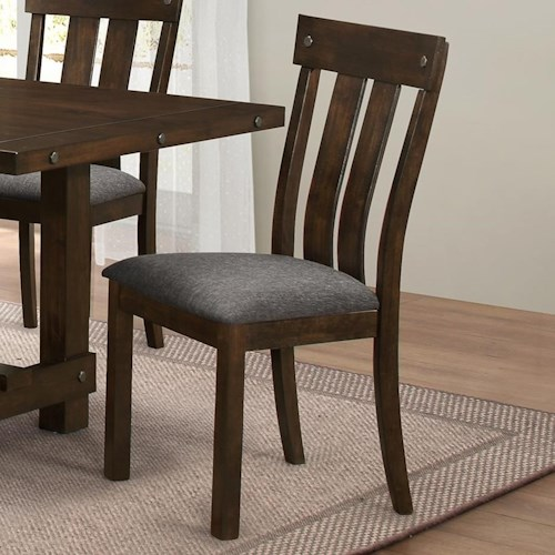 New Classic Frisco Slat Back Dining Side Chair with Linen-like Seat Cushion