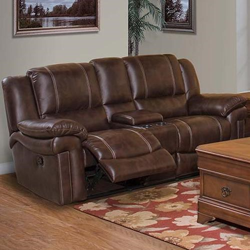 New Classic Hastings Traditional Duel Power Reclining Love Seat with Storage Console and Cup Holders
