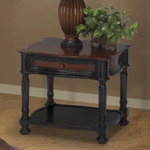 New Classic Jamaica Two-Tone End Table with Drawer and Display Shelf