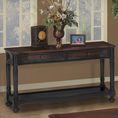 New Classic Jamaica Two-Tone Sofa Table with 2 Drawers and Shelf