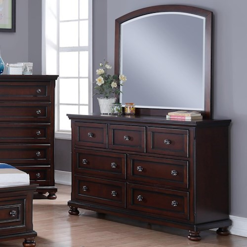 New Classic Jesse Seven Drawer Dresser and Arched Mirror Set