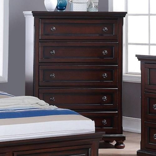 New Classic Jesse Five Drawer Chest with Turned Feet