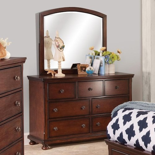 New Classic Jesse Seven Drawer Youth Dresser and Arched Mirror Set
