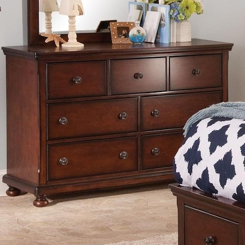 New Classic Jesse Seven Drawer Youth Dresser with Round Metal Drawer Pulls