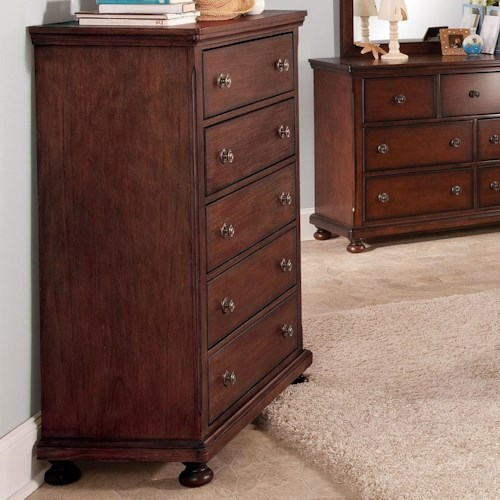 New Classic Jesse Five Drawer Youth Chest with Moulded Top and Bottom Edges